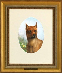 portrait of golden haired dog by achille perelli