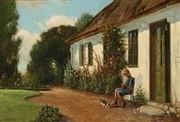 summer idyll at a farmer house with a little girl doing her needlework by hans hilsoe