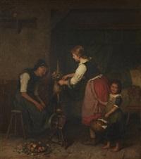 bauernstube mit blinder grossmutter bei der spinnarbeit, die besuch von zwei enkelinnen bekommt by minna (henriette wilhelmine) heeren