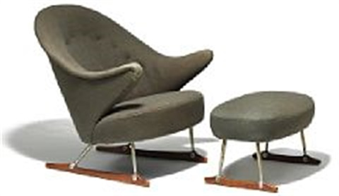 The Sleigh Chair With Matching Stool (model 160) (pair) By Børge Mogensen