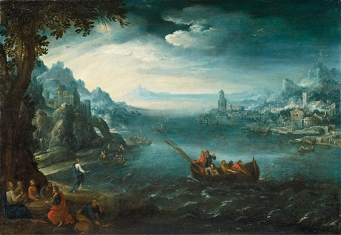 landscape with the calling of the apostles by paul bril