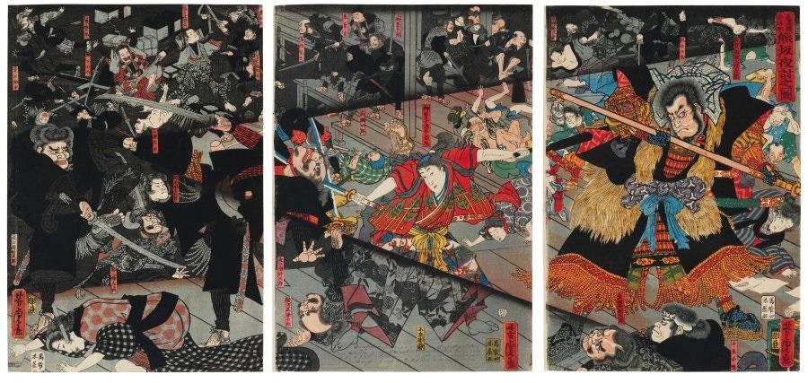 kumasaka youchi no zu lattaque nocturne de kumasaka oban tate e triptych by utagawa yoshitora