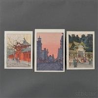 hiejinja; okaramon; sunrise on new year's day, ginza (3 works) by toshi yoshida