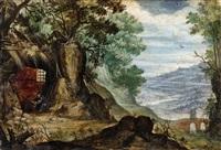 rocky landscape with hermit by jan brueghel the elder