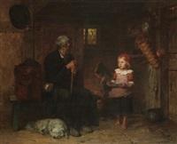 bauernstube mit kleinem mädchen, das einem leierspieler die suppe bringt by minna (henriette wilhelmine) heeren