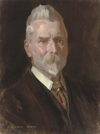 portrait of d.w.r. carrick-buchanan of drumpellier, glasgow in a white shirt with a brown coat and tie by malcolm gavin