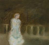 victoria. junge frau in weißem kleid im park spazierend. romantisierend ausgeführt by rudolf l. reiter