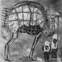 reich geschmücktes kamel mit mutter und kind an seiner seite by amandos akanaev