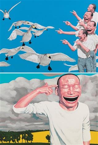 版画 (二幅) printmaking two 2 works by yue minjun