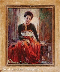 woman in red by arnold e. turtle