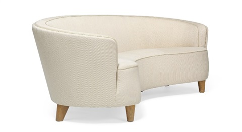 Freestanding Three Seater Curvy Sofa And A Pair Of Matching Easy Chairs  With Tapering Birch Legs