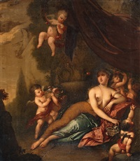 flora with putti in a landscape by gerard hoet the elder