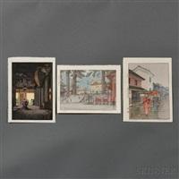 umbrella; nikko; kiyomizu temple (3 works) by toshi yoshida