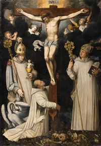 christ on the cross with saint bruno, hugh of lincoln and hugh of châteauneuf by german school (16)