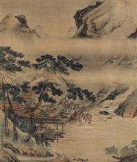 50年代作 溪山楼阁图 by qiu ying
