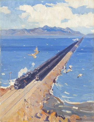 The Southern Pacific Railroad crossing the Great Salt Lake