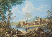 two southern landscapes with ruins and staffage (2 works) by hendrick frans van lint