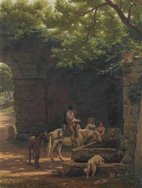 rast am brunnen by evert louis van muyden
