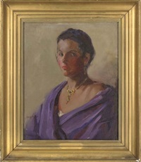 portrait of senorita do-do in a purple shawl by iris m. andrews