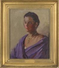 portrait of senorita do-do in a purple shawl by iris m. andrews