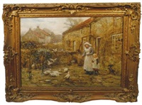 young girls outside a farmstead with ducks and pigeons to the fore by rowland henry hill