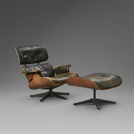 Fåtölj med fotpall, Eames Lounge Chair and Ottoman, modell 670 ...