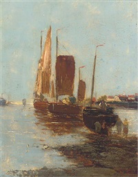 fishing boats in a harbour with figures unloading the catch (+ another similar; pair) by henri fabre