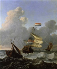 niederländische schiffe auf bewegter see by wigerus vitringa