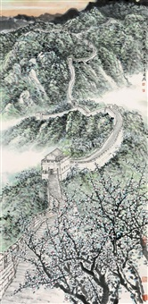 landscape and plum blossom by xu guoxiong