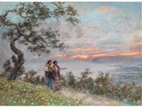 abendlandschaft mit zwei jungen frauen an einem höhenweg über einer bucht by vincenzo migliaro