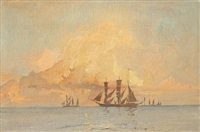 sailing ships in the sunset by harry kluge