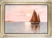 segler vor der küste im stimmungsvollen abendlicht by alexander reich-staffelstein