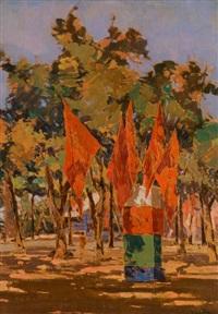 bandiere rosse alla rotonda by angiolo volpe