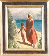 mutter mit kind am see by ernest bolens