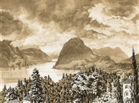 landschafts an einem oberitalienischen see (+ 4 others; 5 works) by werner peiner