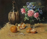 still life with bottle, oranges, cigarettes and a bouquet by flora heilmann