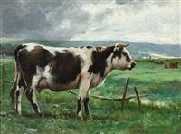 portrait einer schwarz-weiß gefleckten kuh auf der weide by jules dupré