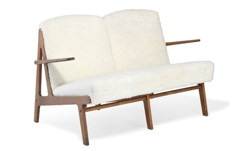 Freestanding two seater sofa bench with oak frame by Børge Mogensen ...