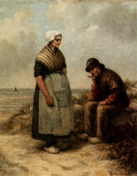 fisherman and his wife in the dunes by hermina van der haas