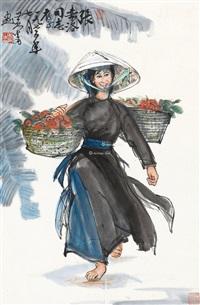 人物 立轴 设色纸本 by huang zhou
