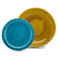 large low bowl and plate, usa (2 works) by laura andreson