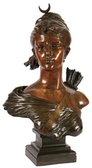 bust of diane the huntress by e. waccot