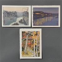 iidabashi; ryoguku bridge; sangetsu-an, hakone museum (3 works) by toshi yoshida
