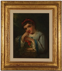 portrait of a girl eating cherries by louis lang