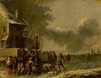 winterlandschaft mit zugefrorenem flusslauf und lebhaftem treiben vor einem gasthaus by klaes molenaer