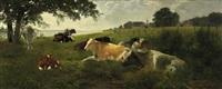 morgenruhe. lagernde kuhherde am flußufer by carl röder