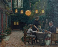 tea in the garden by gabriel-charles deneux