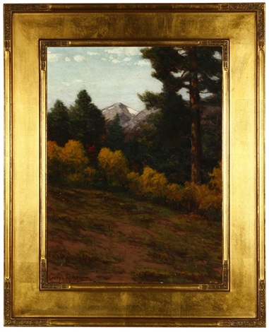 landscape with distant mountains by henry leopold richter
