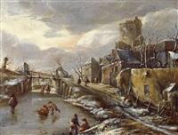 winterlandschaft mit eisläufern vor einem befestigten städtchen by salomon rombouts
