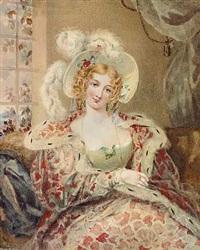 en elegant dame med hat siddende ved et vindue i en stue by alexandr pavlovich bryullov